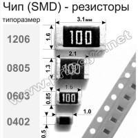 1206 СМД резисторы 0Ом - 10M, 1%,  0,25Вт